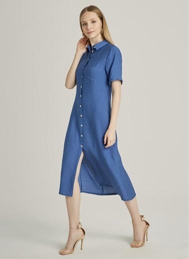 NGSTYLE Kısa Kollu Gömlek Elbise Mavi